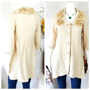 Anthropologie Nick & Mo rosette embellished cardi